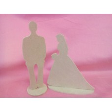 4mm Thick MDF Bride & Groom On bases